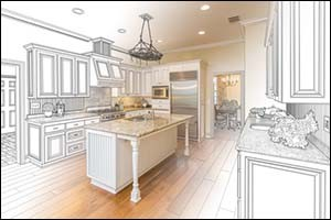 Beautiful Custom Kitchen Design Drawing and Gradated Photo Combination.